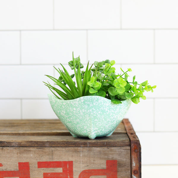 Mid Century Mint Green Splatter Glaze Planter