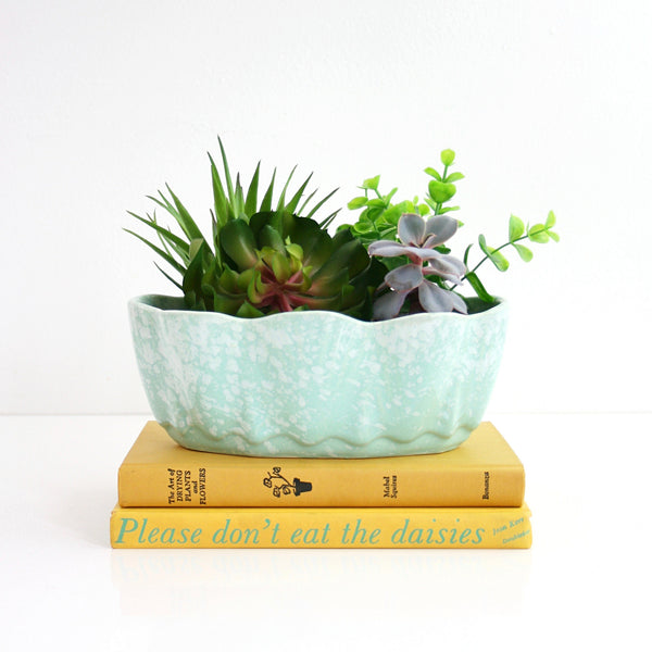 Vintage Mint Green USA Pottery Planter