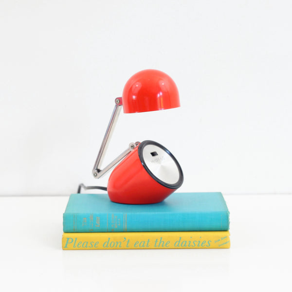 SOLD - Vintage 1970s Prestigeline Red Folding Desk Lamp