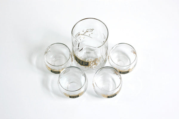 SOLD - Mid Century Modern VIP Cocktail Set / Vintage VIP Glasses and Pitcher Barware Set