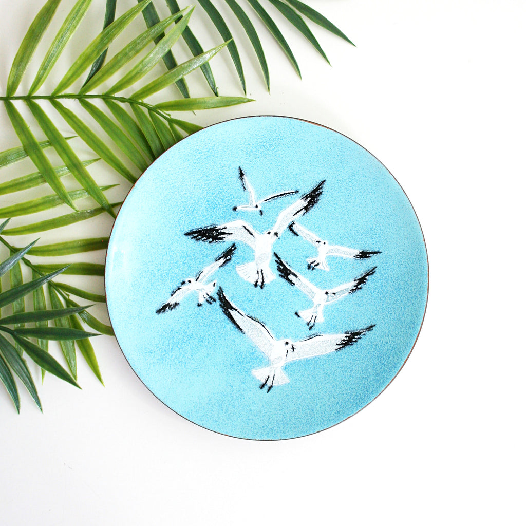 Mid Century Enamel Copper Seagull Dish by Annemarie Davidson