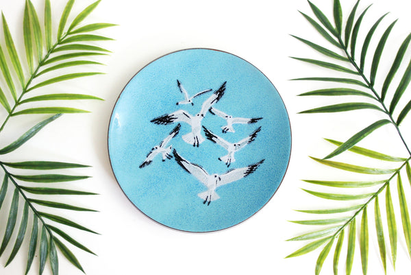 SOLD - Mid Century Enamel Copper Seagull Dish by Annemarie Davidson