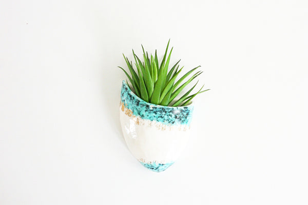 SOLD - Mid Century Modern White Turquoise and Gold Wall Pocket / Vintage Atomic Wall Planter