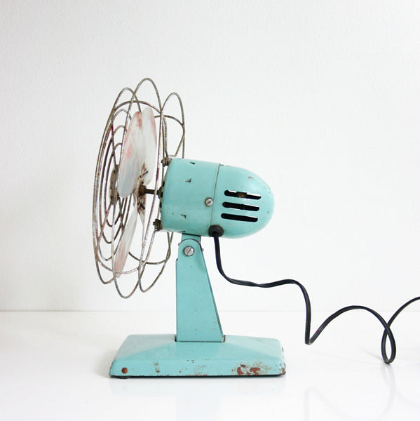 SOLD - Mid Century Modern Aqua Blue Electric Fan / Vintage Wizard Fan by Western Auto Supply Co.
