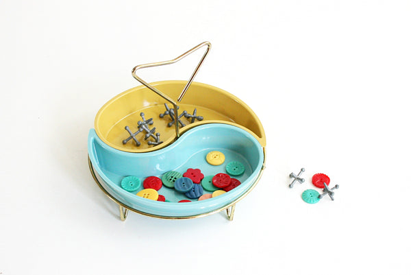 SOLD - Mid Century Modern Snack Serving Set / Vintage Aqua and Yellow Trays with Brass Stand