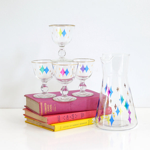 SOLD - Mid Century Modern Atomic Starburst Cocktail Set