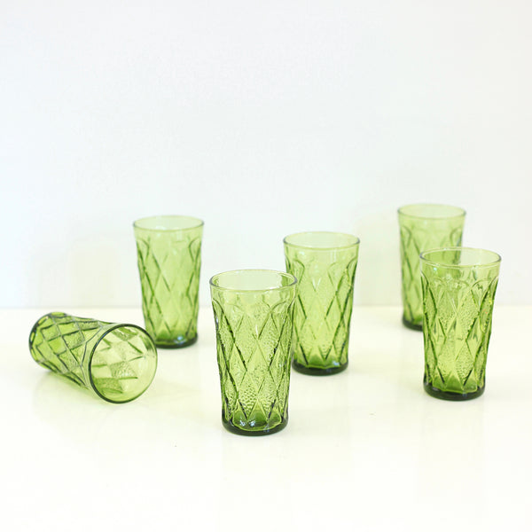 Mid Century Avocado Green Gemstone Kimberly Glasses by Anchor Hocking