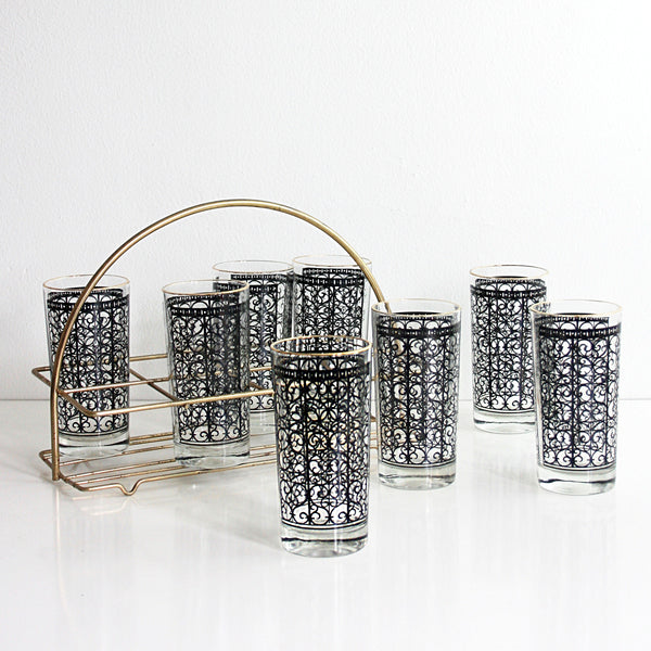 Mid Century Modern Black and Gold Glasses with Carrier / Starlyte Madrid Scroll Glasses