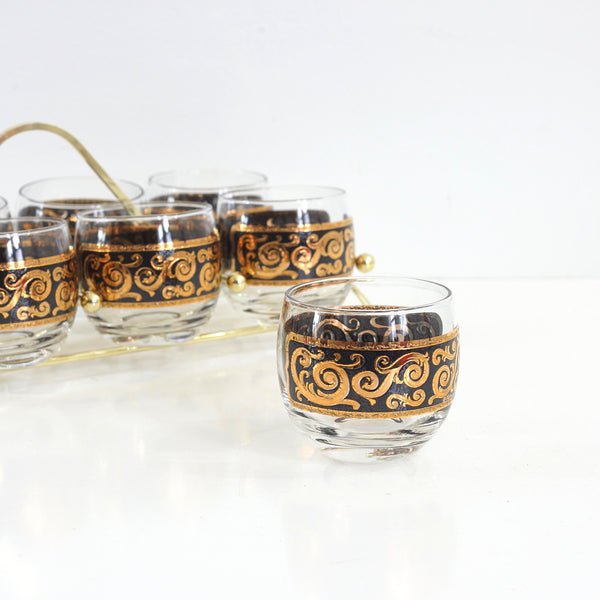 SOLD - Mid Century Modern Black & Gold Cocktail Glasses with Caddy