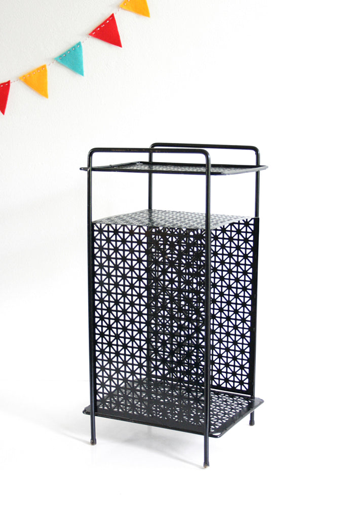 Picture of: Sold Mid Century Modern Black Metal Plant Stand Vintage Telephone Wise Apple Vintage
