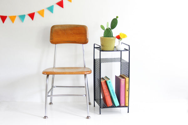 SOLD - Mid Century Modern Black Metal Plant Stand / Vintage Telephone Table