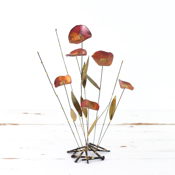SOLD - Mid Century Brutalist Metal Flower Sculpture