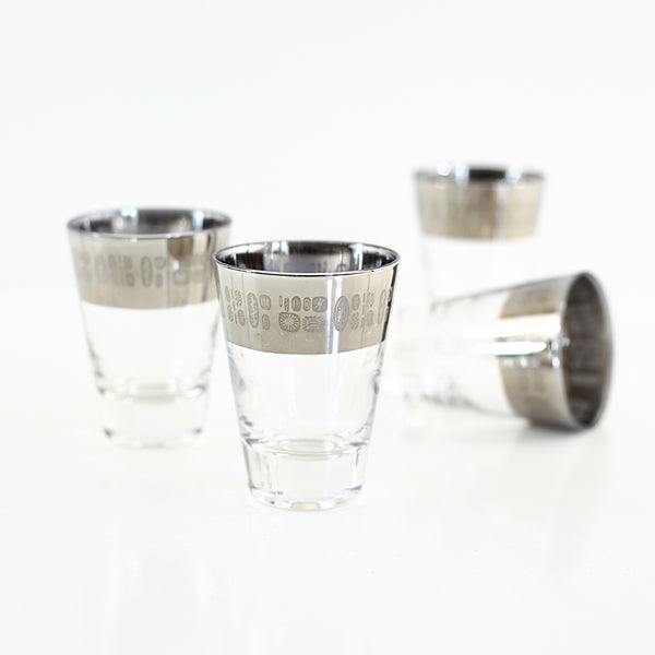 Mid Century Modern Temporama Silver Band Cocktail Glasses