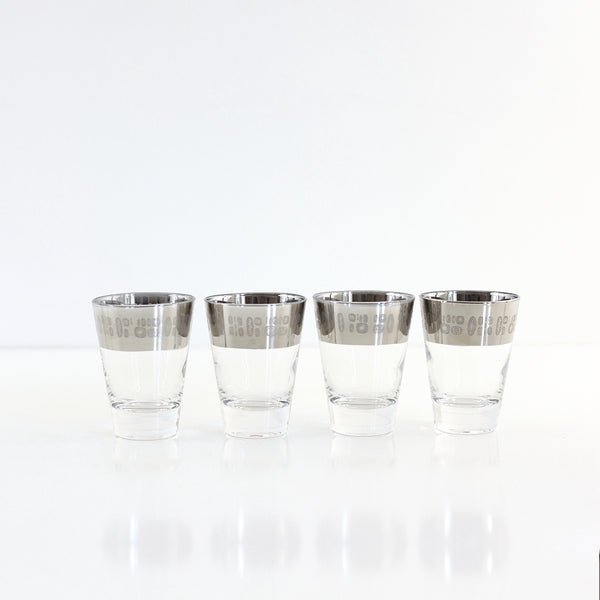 SOLD - Mid Century Modern Temporama Silver Band Cocktail Glasses