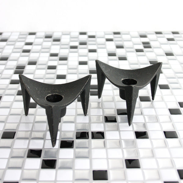 SOLD - Danish Modern Cast Iron Tripod Candle Holders