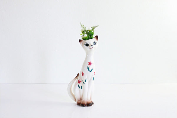 SOLD - Mid Century Floral Ceramic Cat Wall Pocket