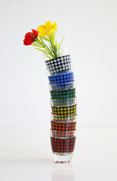 Mid Century Modern Houndstooth Shot Glasses from France / Colorful Vintage Barware
