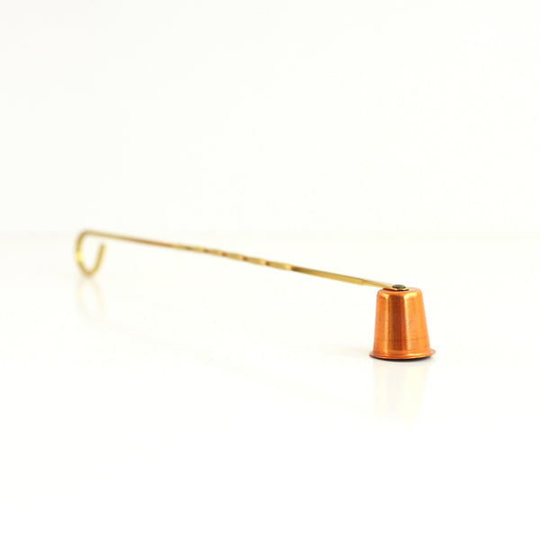 SOLD - Mid Century Copper and Brass Candlestick Set with Snuffer