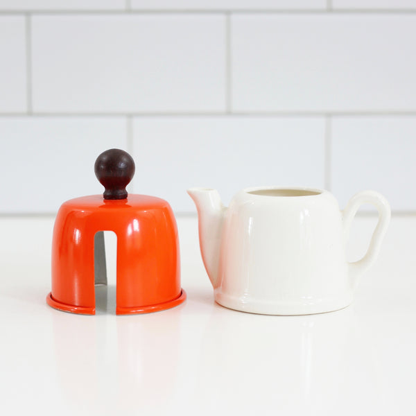 SOLD - Mid Century Modern Cream & Sugar Set with Orange Aluminum Cozies