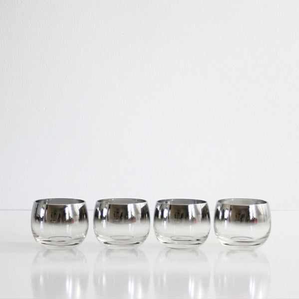 SOLD - Vintage Set of Four Silver Ombre Roly Poly Glasses / Mid Century Modern Mad Men Tumblers