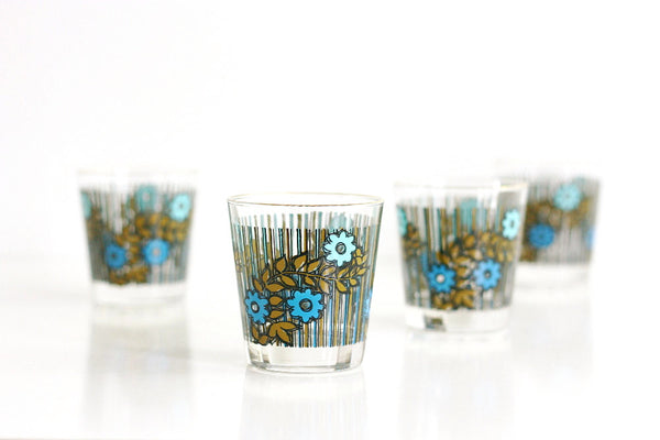 SOLD - Vintage Flower Drinking Glasses / Mid Century Modern Flower Tumblers