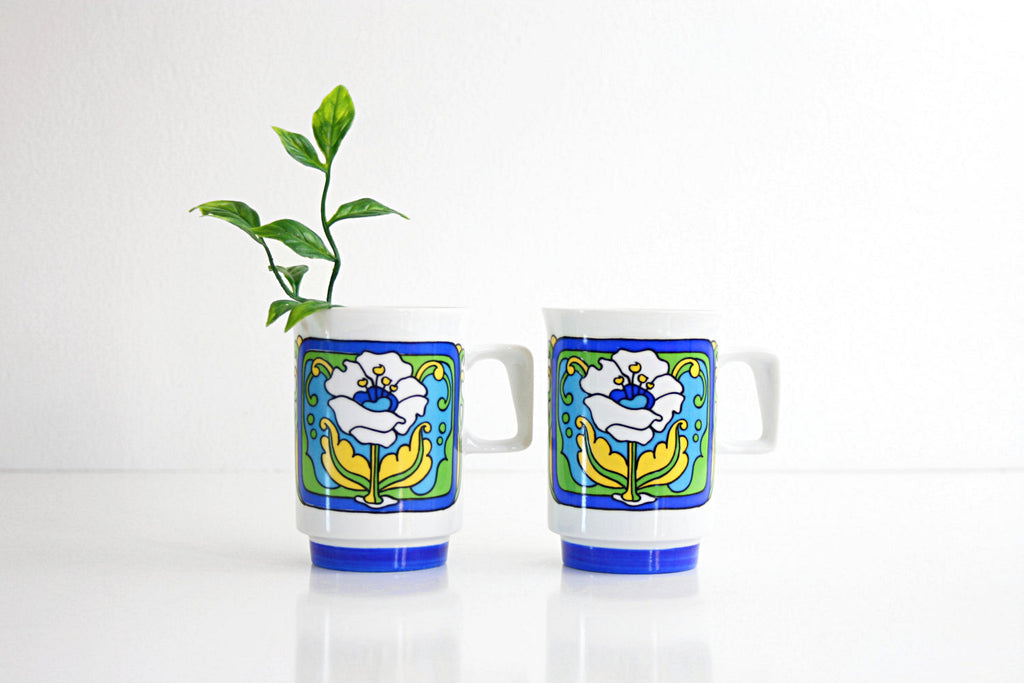 SOLD - Mid Century Modern Flower Mugs