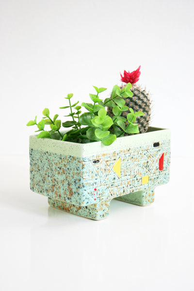 SOLD - Mid Century Modern Geometric Planter / Vintage Mint Green Plant Pot
