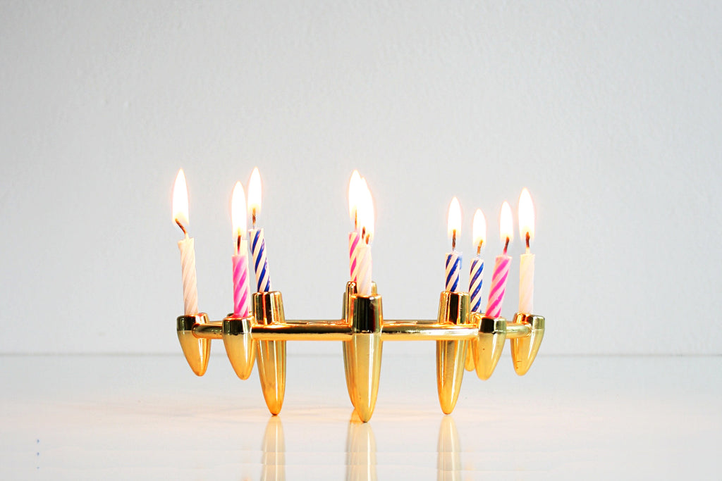 SOLD - Mid Century Modern Gold Atomic Tiny Taper Candle Holder by Colonial Candle Company