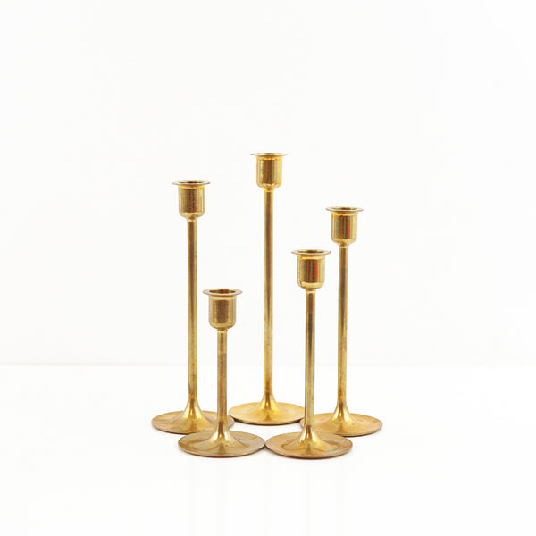 SOLD - Mid Century Graduated Brass Candlesticks