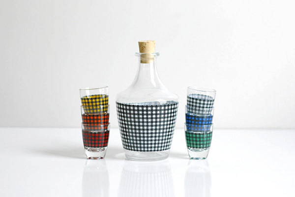 SOLD - Mid Century Modern Houndstooth Shot Glasses and Decanter Set from France