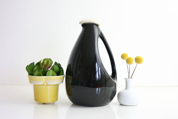 Mid Century Modern Black Bird Pitcher by Kenwood for Shawnee