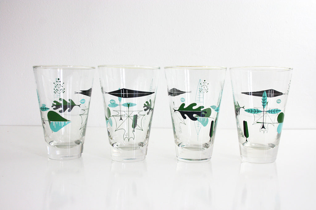 SOLD - Mid Century Modern Libbey Atomic Leaf Glasses