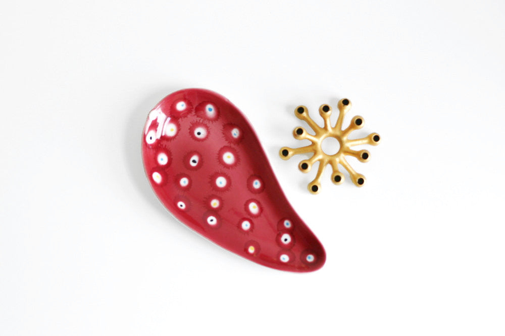 SOLD - Mid Century Modern Atomic Polka Dot Dish from Italy