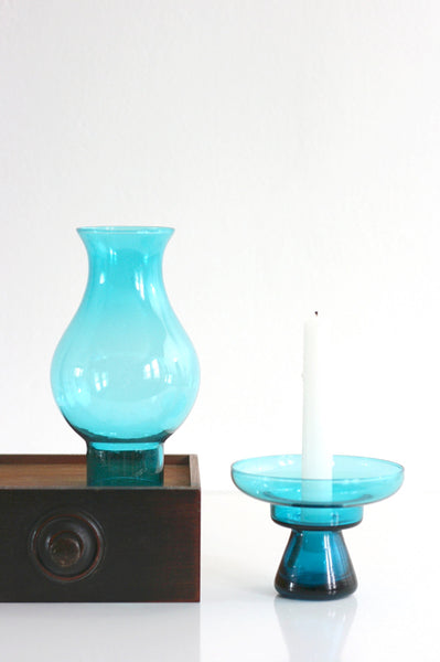 SOLD - Mid Century Modern Morgantown Glass Hurricane Lamp - Vintage Peacock Blue Candle Holder