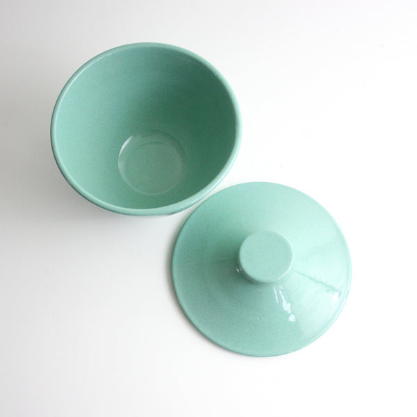 SOLD - Mid Century Modern Pfaltzgraff Ceramic Bowl With Lid / Aqua Pfaltzgraff Mixing Bowl