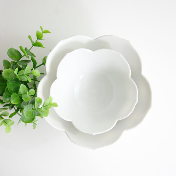 SOLD - Vintage Pair of Nesting Lotus Bowls / Mid Century White Porcelain Flower Bowls