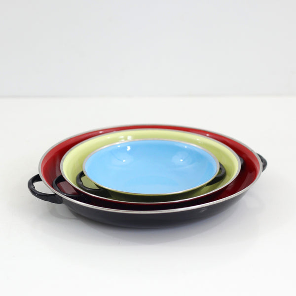 SOLD - Mid Century Enamel Paella Pans by B&M Duoro