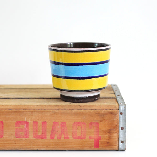 SOLD - Mid Century West German Roth Keramik Planter - Turquoise & Yellow Stripes