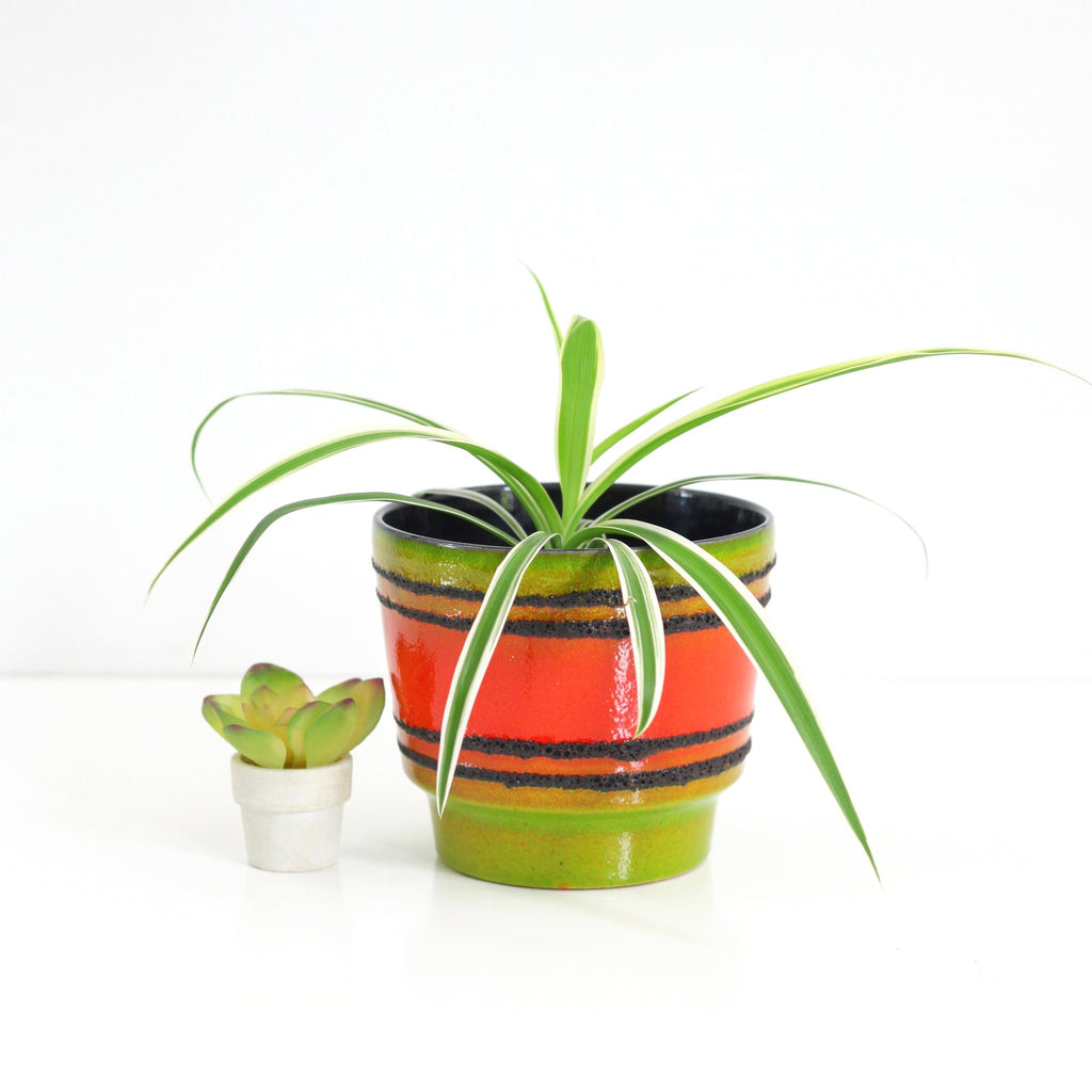 SOLD - Mid Century West German Roth Keramik Planter - Orange & Green Stripes