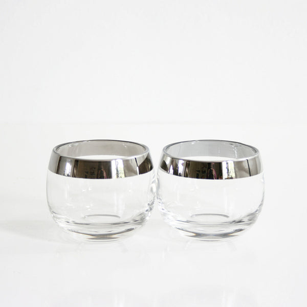 SOLD - Vintage Pair Dorothy Thorpe Silver Rim Roly Poly Glasses / Mid Century Modern Mad Men Tumblers