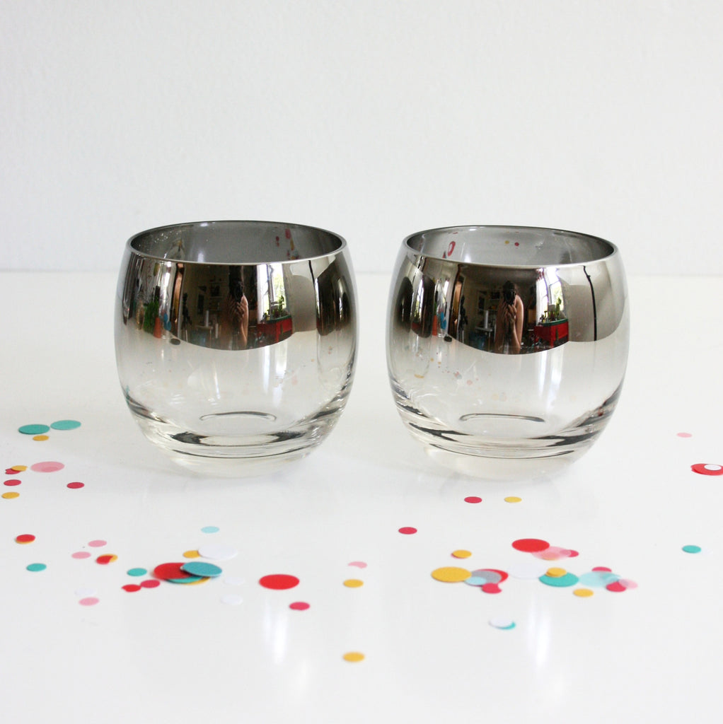 sold  mid century modern silver ombre cocktail set  vintage  -  sold  mid century modern silver ombre cocktail set  vintage silverfade roly poly glasses