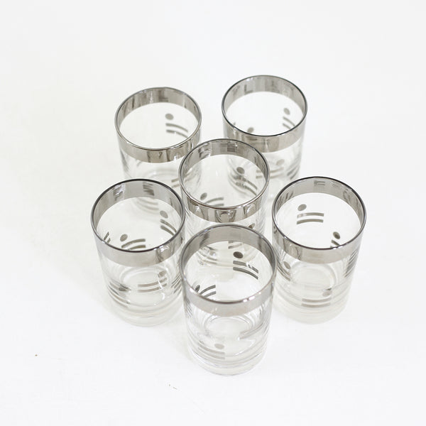 SOLD - Mid Century Silver Dots & Dashes Cocktail Glasses