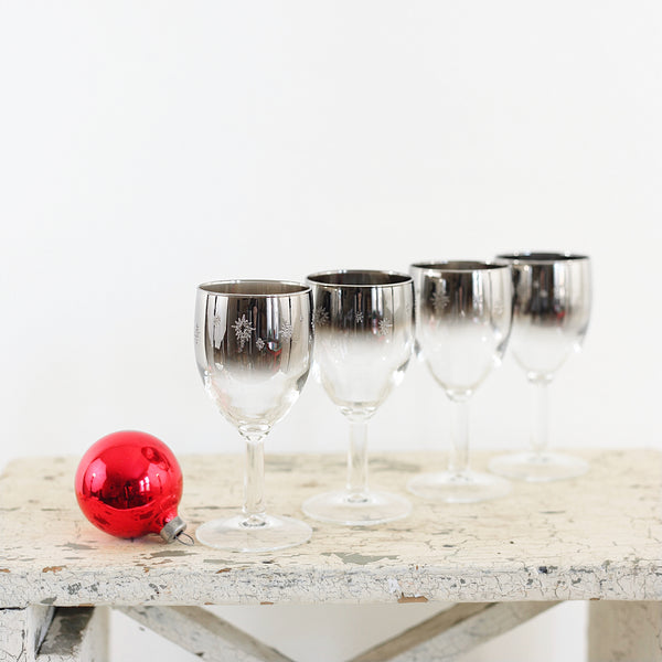 SOLD — Mid Century Silver Starburst Cordial Glasses from France