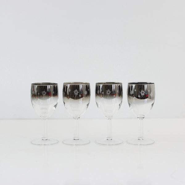 Mid Century Silver Starburst Cordial Glasses from France