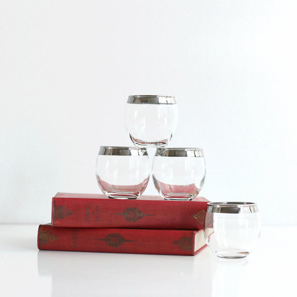 SOLD - Mid Century Roly Poly Whiskey Glasses