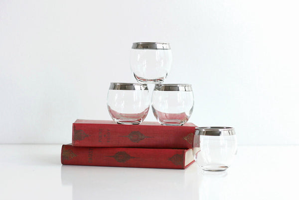 SOLD - Dorothy Thorpe Roly Poly Glasses / Mid Century Modern Mad Men Tumblers / Silver Rimmed Barware / Vintage Whiskey Glasses