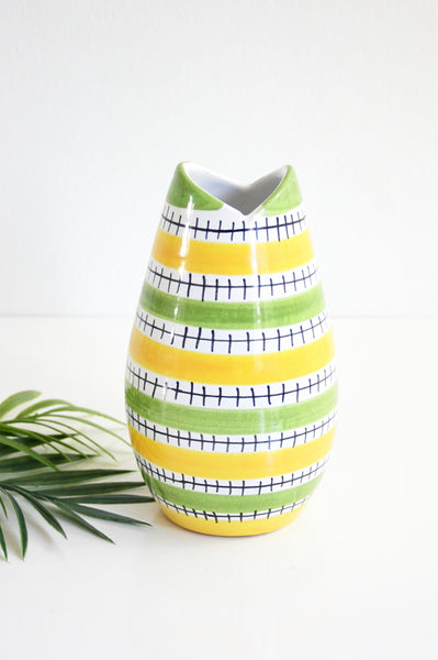 SOLD - Mid Century Modern Geometric Striped Vase / Vintage Art Pottery Vase from Italy