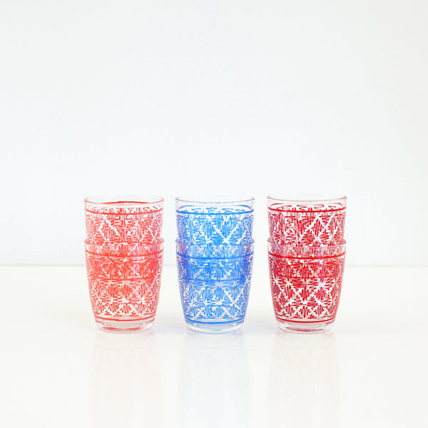 SOLD - Mid Century Geometric Squiggle Sour Cream Glasses