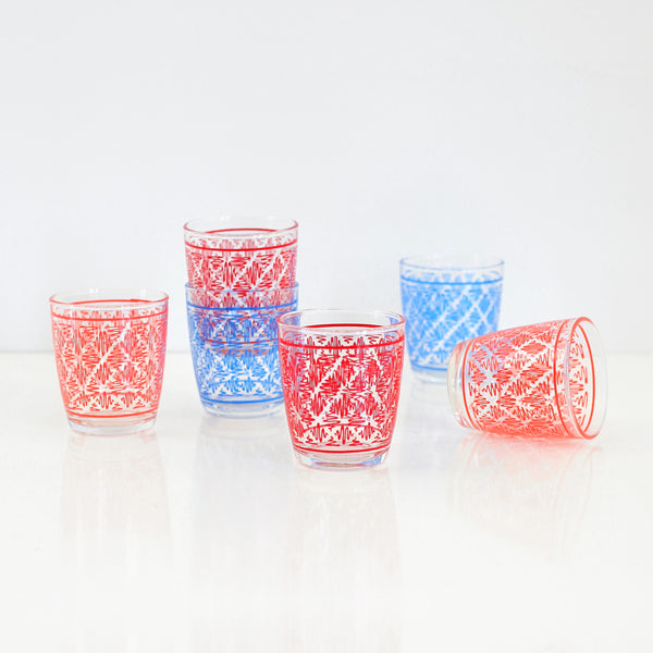 Mid Century Geometric Squiggle Sour Cream Glasses