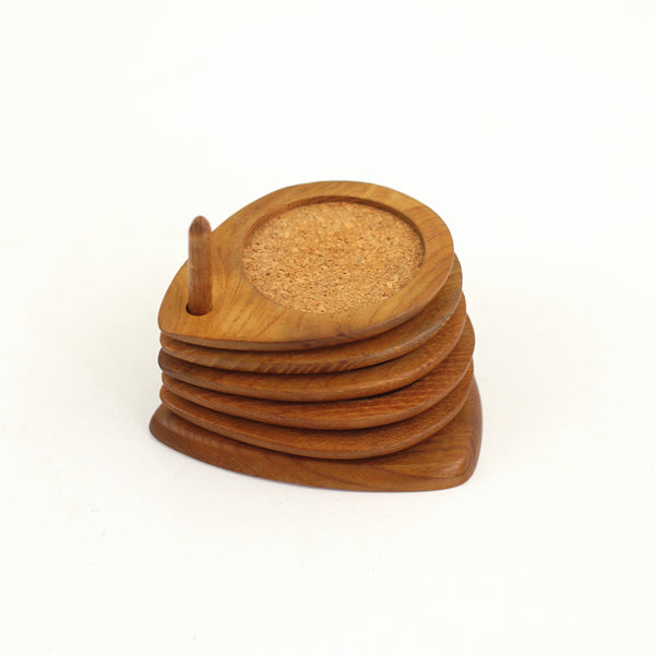 SOLD - Mid Century Modern Hand Carved Teak Wood Coasters